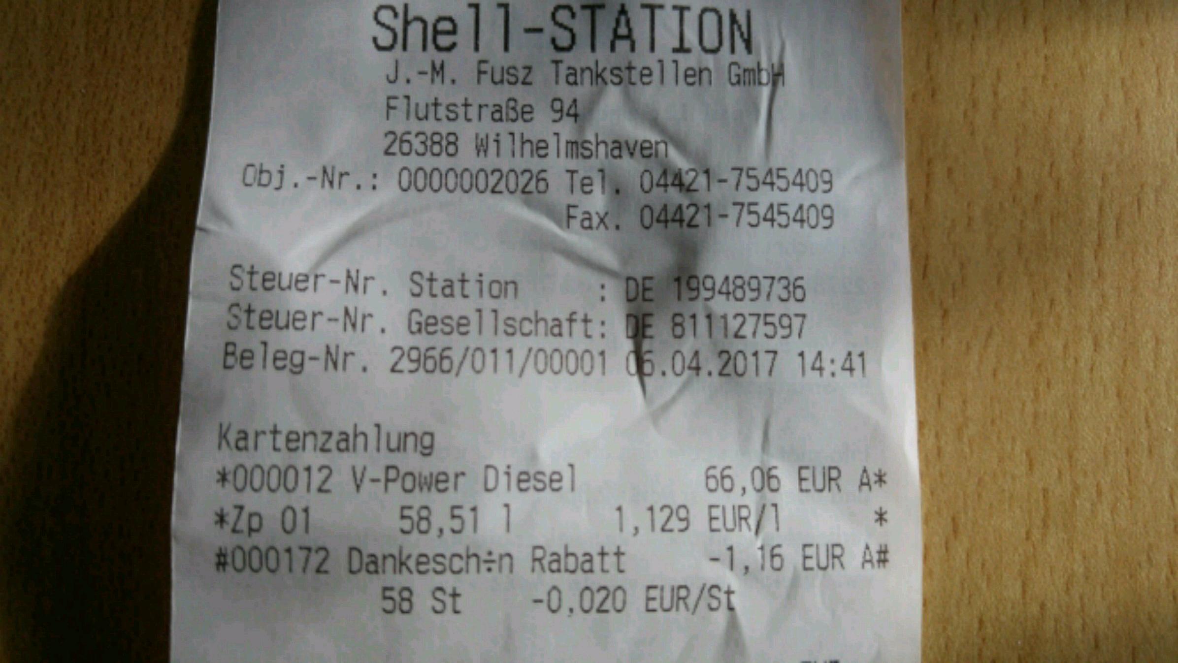 Shell Wilhelmshaven Abverkauf V-Power Diesel und V-Power Racing zum jeweils Normalpreis (21 bzw. 24 Cent/L sparen)