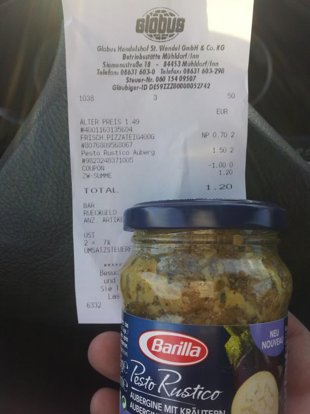 Barilla Pesto Rustico Globus Angebot +Coupon 0, 50 € pro Glas