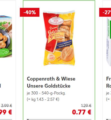 Kaufland Coppenrath & Wiese - Unsere Goldstücke Weizen- oder Baguette-Brötchen je 9 Stück, Mehrkorn-Brötchen 6 Stück,