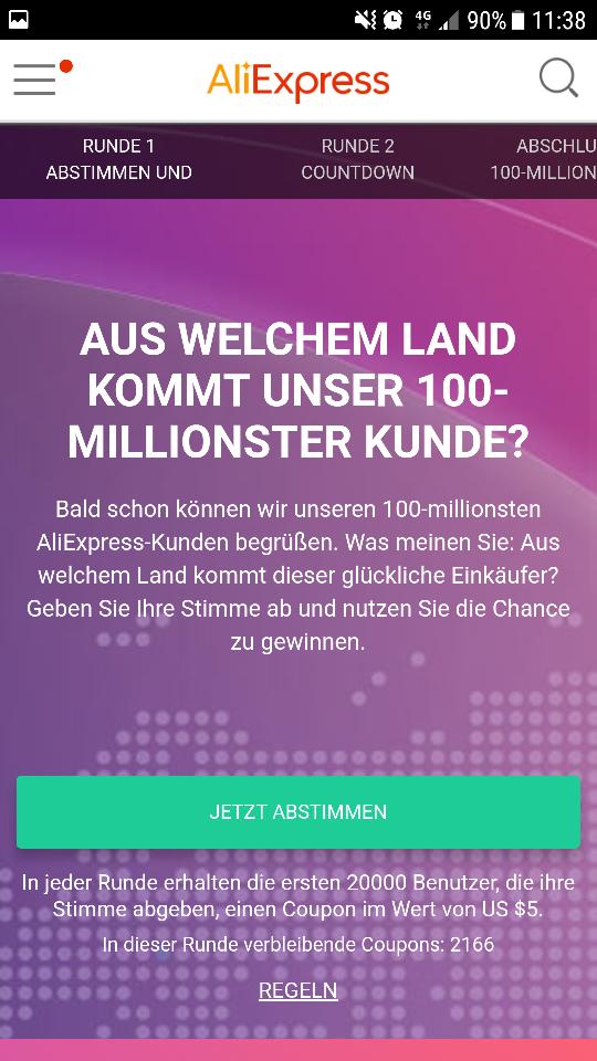 [Aliexpress] 5$/25$ Mbw Gutschein für Bestandskunden