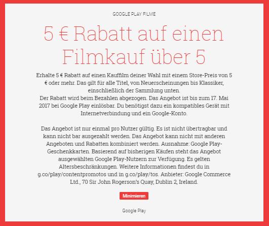 5€ Rabatt für einen Filmkauf ab 5€ (für einen Film eurer Wahl) [Play Store] - z.B. Interstellar für 0,99€