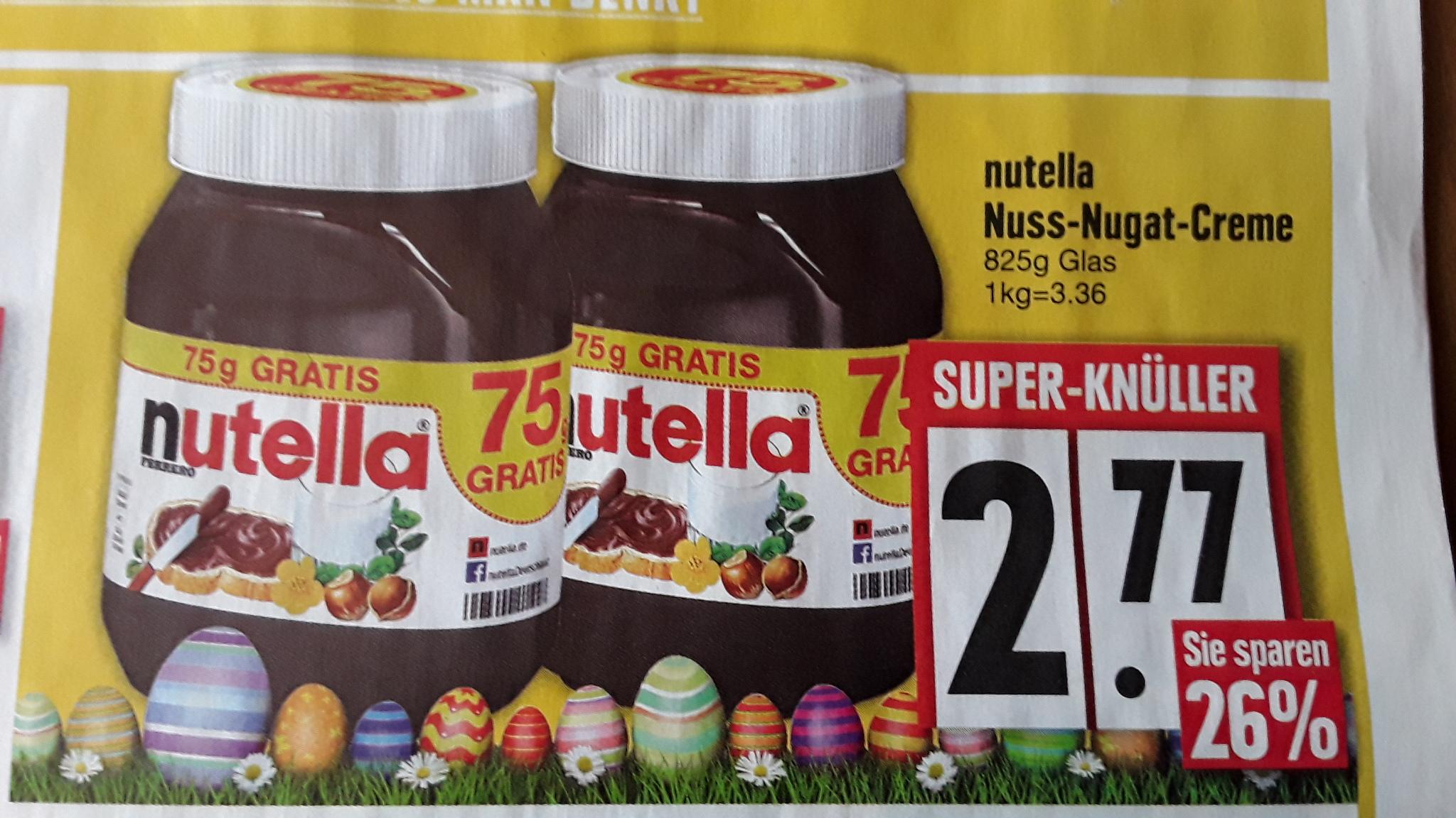 Nutella 825 g Glas für 2,77 € ab 10.04. bei Edeka Südbayern