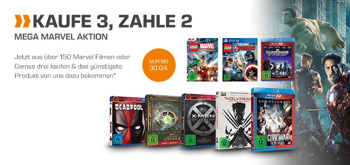 [Saturn] Nimm 3-Zahl 2 Aktion für alle Marvel-Produkte (Film und Games]**Update...Aktion ist Online