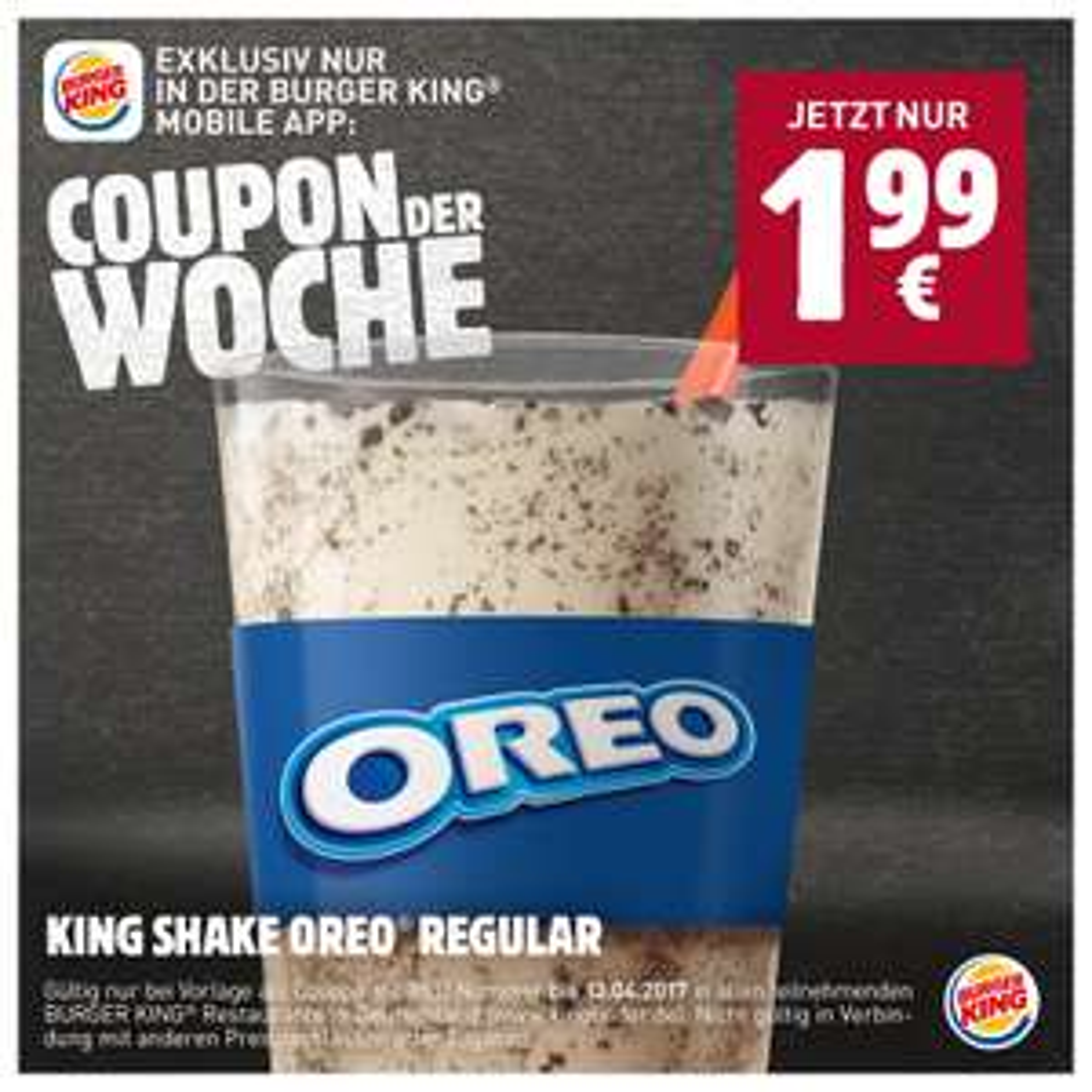 Burger King - Coupon der Woche: KING SHAKE OREO® für 1,99€