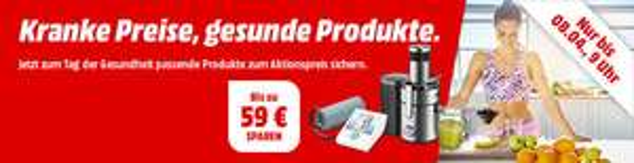 Verschiedene Gesundheits-Produkte, z.B. Medisana 23412 Fieberthermometer für 2 €, MOULINEX JU 655 H Entsafter für 76 €, Sanitas SBM 22 Blutdruckmessgerät für 16 € bei Mediamarkt