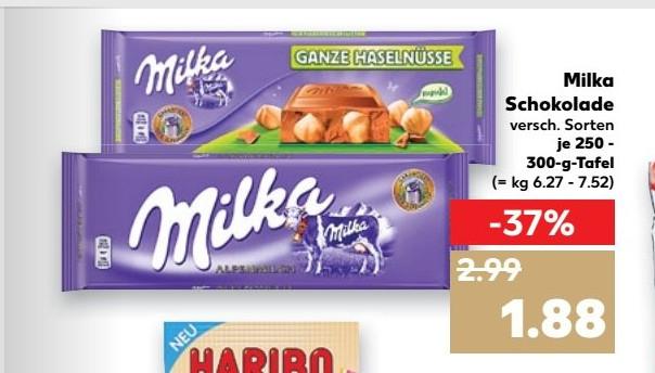 [Kaufland] ab Donnerstag - Milka Schokolade im Großformat (300g) für 1,88 € - mit Coupon 1,55 Euro