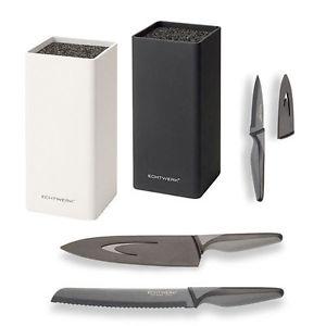 """Echtwerk Messerblock """"Square"""" inkl. 3 verschiedene """"Blacksteel"""" Stahl Messer"""