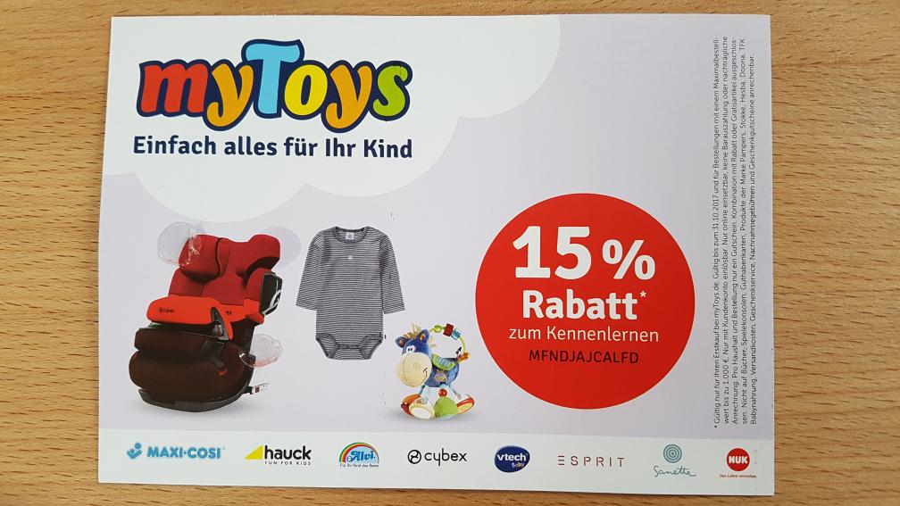 myToys 15% (Neukunden) Rabatt - auch Kiddy und Joie