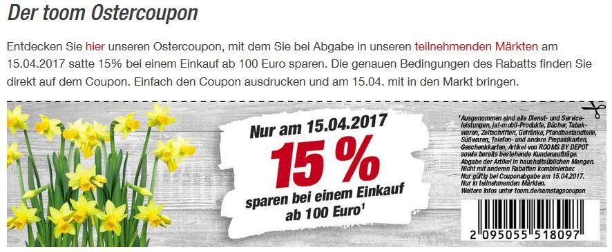 [Toom - Osterrabatt] Nur am 15.April gibt es bei Toom ab 100€ Einkauf 15% Rabatt