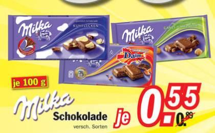 [lokal] Zimmermann Restposten - Milka Schokolade 100g Tafeln je 55 Cent und weitere gute Food-Angebote