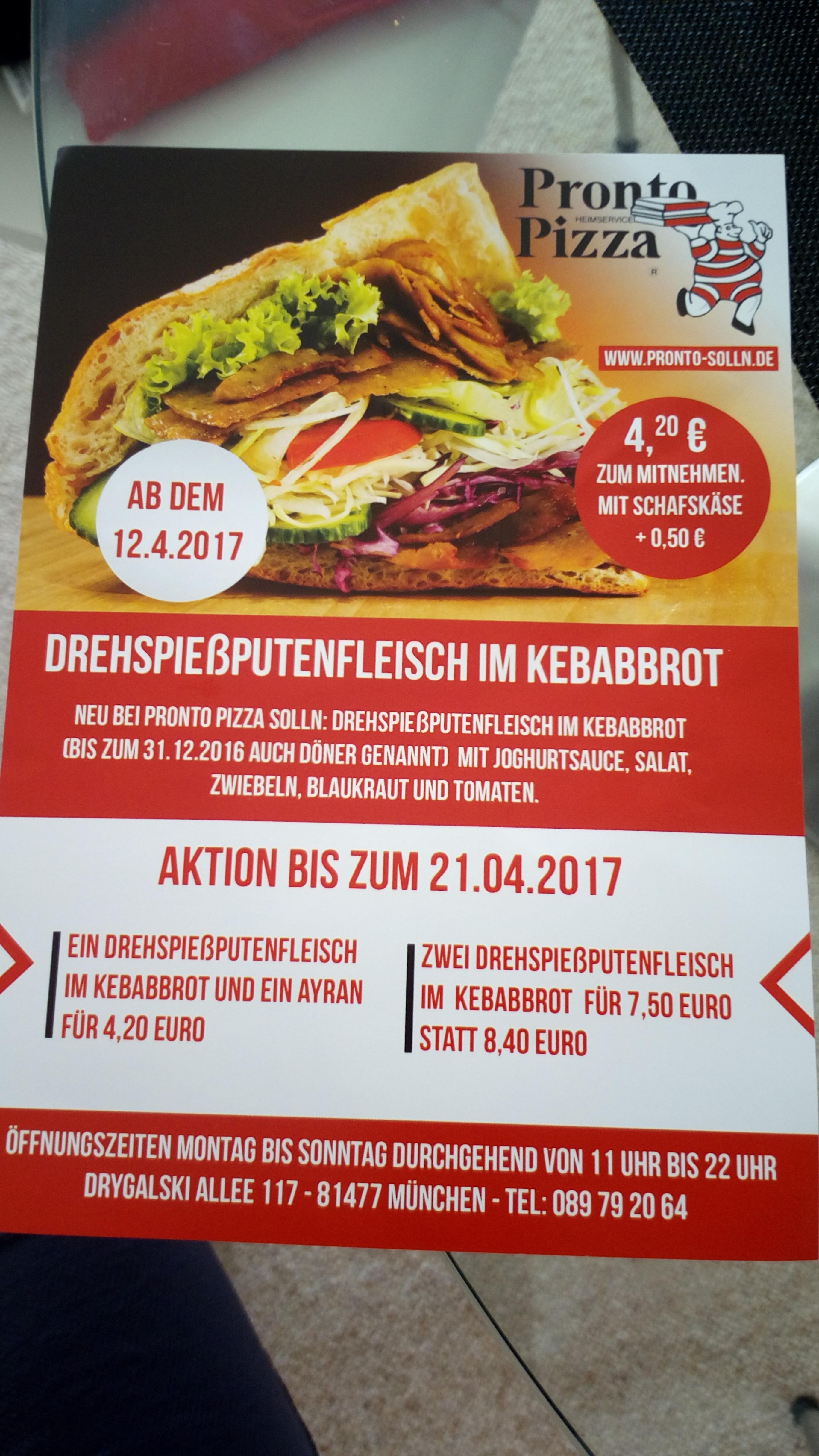 Lokal München: 12.-21.04: Döner + Ayran 4,20 Euro, 2x Döner 7,50 Euro
