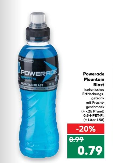 [lokal Kaufland Kiel] Powerade Mountain Blast für 0,79€ zzgl. Pfand (13.04-19.04.2017)