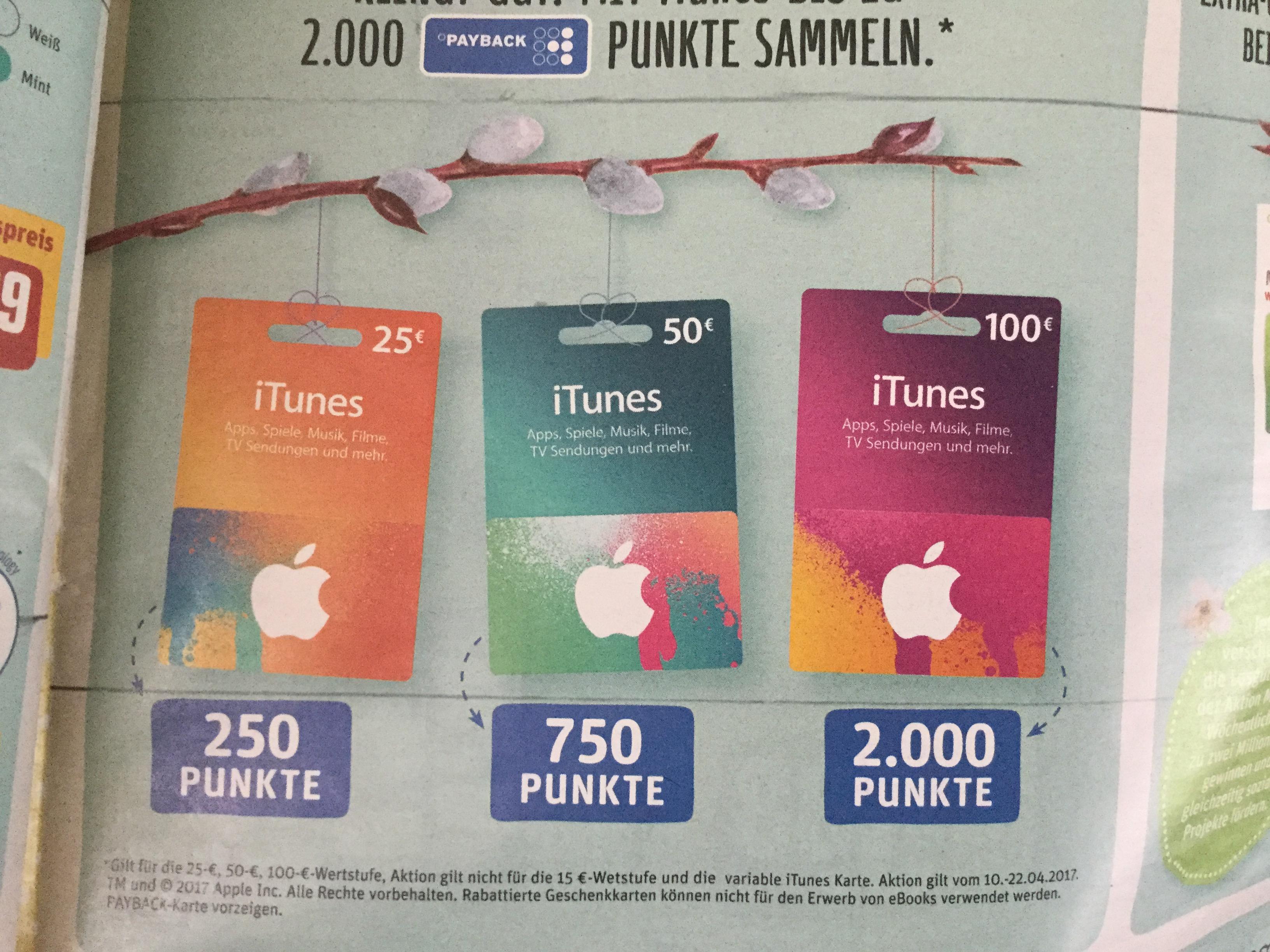 Rewe & Payback Itunes Guthaben mit Punkten z.B. 100€=2000 Punkte