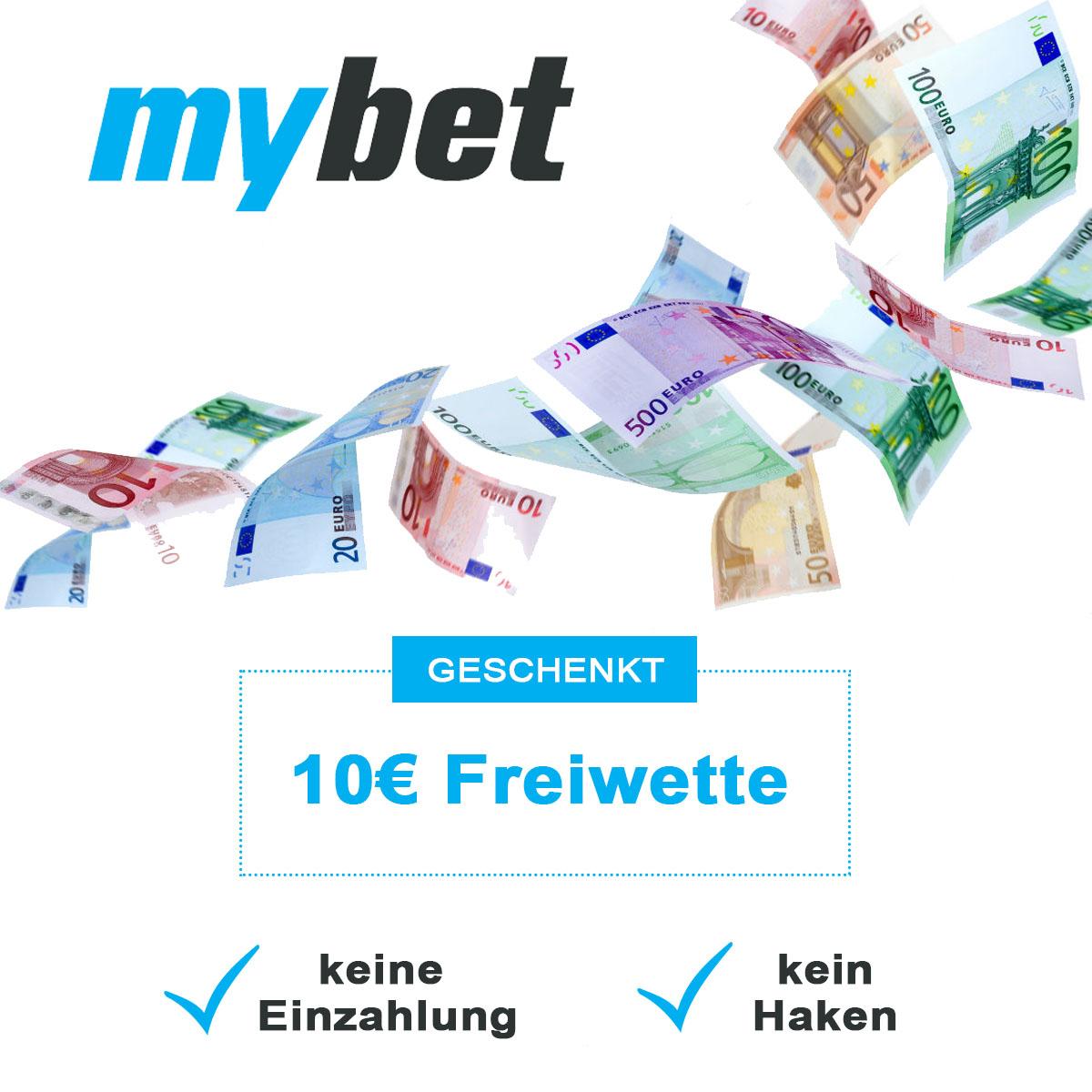 (NEUKUNDEN) 10€ Freiwette bei mybet ohne Ersteinzahlung und Mindestumsatz