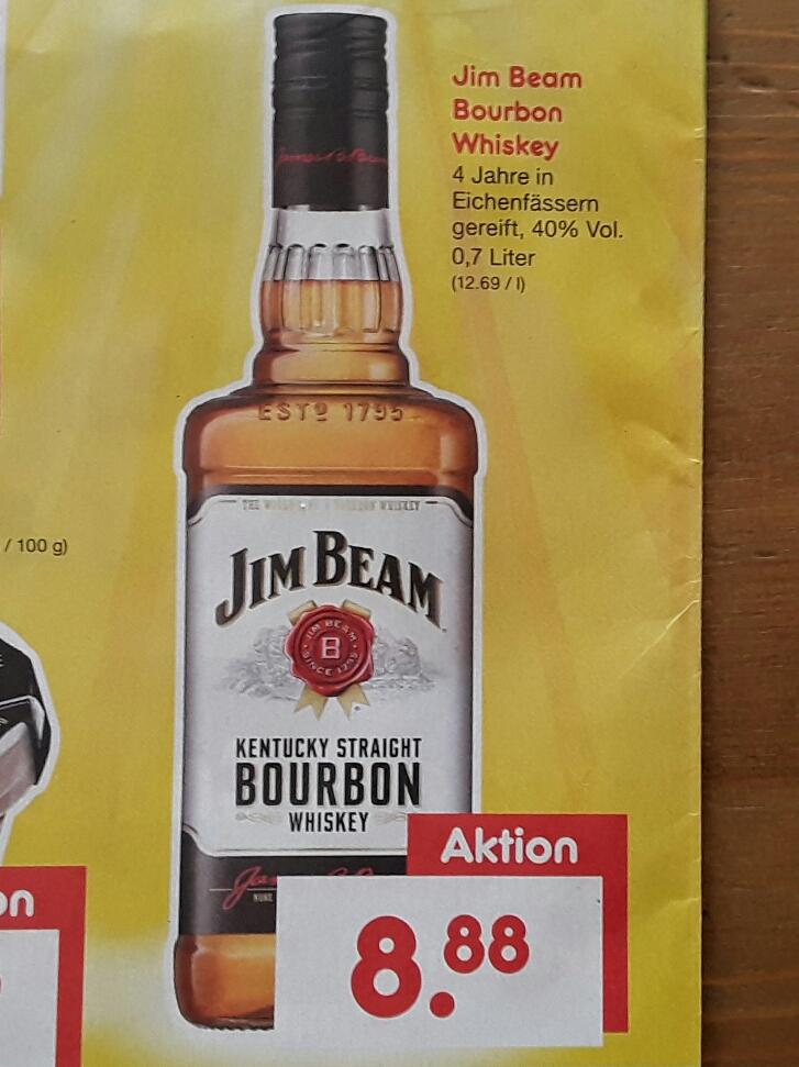 Jim Beam Bourbon Whiskey 0,7l Flasche für 8,88 € am 15.4.17 @ Netto MD Samstagskracher
