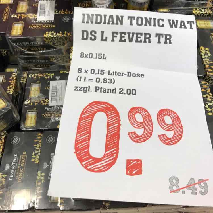 [Lokal Rewe Center Darmstadt] Fever Tree Indian Tonic 8x 0,15 Dosen