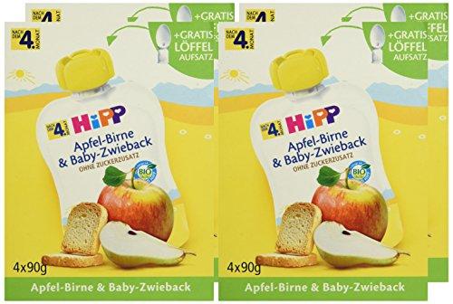 Hipp Apfel-Birne und Baby-Zwieback Quetschies, 4er Pack (4 x 360 g) = 16 Stück für 6,74€ mit [Amazon Prime] 0,42€ pro Stück