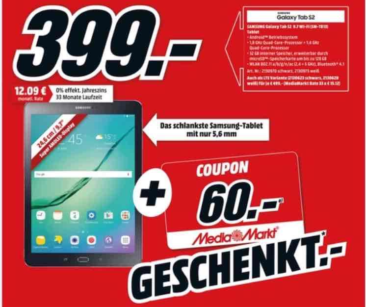 [Media Markt] Samsung Galaxy Tab S2 + Gutschein