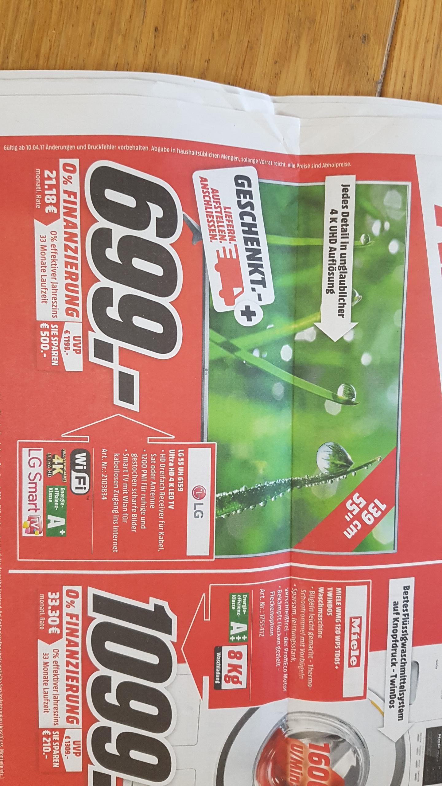 [Lokal Media Markt PLZ 41... + 52...] LG 55 UH 6159 LED 4k TV inkl. Premium Lieferung