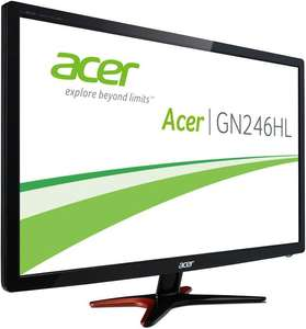 Acer GN246HLBbid Monitor (24'' FHD TN 3D-Vision, 144Hz, 1ms, 350cd/​m², HDMI + DVI + VGA, VESA, EEK B) für 199€ [Amazon]