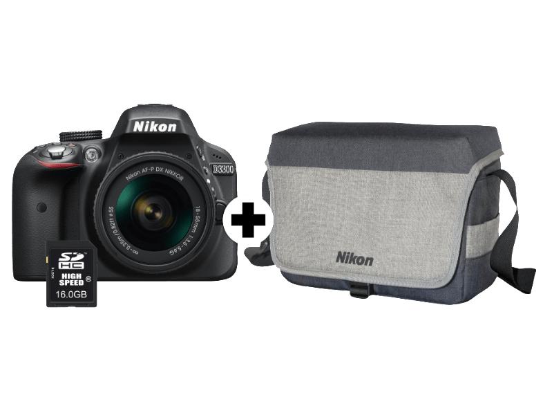 NIKON D 3300 AF-P Fat Box Spiegelreflexkamera 24.2 MP mit Objektiv 18-55 mm inkl. Tasche und 16 GB Speicherkarte für 369 €