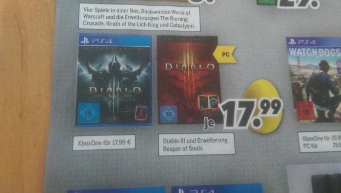 [Lokal Magdeburg] Diablo 3 - Ultimate Evil Edition (PS4 und Xbox One) für 17,99 EUR bei Medimax