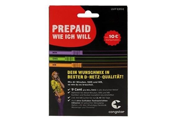 congstar Starterpaket 'Wunsch-Mix'' mit 10 Euro Guthaben pro Karte @Dealclub