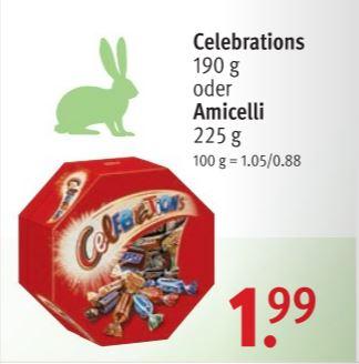[Rossmann mit Scondoo] Celebrations-Box 190g für 0,99€, mit 10% Coupon nur 0,79€