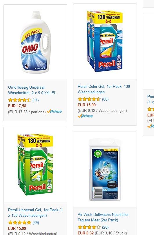(Amazon) Persil Universal Gel, 1 Pack (1x 130 Waschladungen) = 15,99 € / 100 WL 12,3 € / 1 WL 0,123 € (Prime Kunden oder mind. 2x bestellen für Kostenlos Versand)