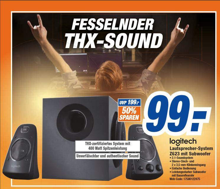 [Offline HEM Expert Filialen] Logitech Z623 Lautsprecher-System mit Subwoofer 200W THX-Zertifizierung (Schwarz) für 99,-€ (noch sind 50,-€ für 40,-€  Karten erhältlich]