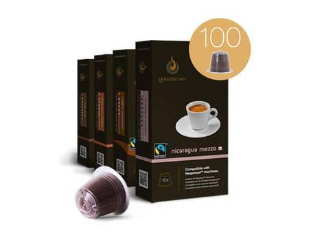 Gourmesso Kaffeekapseln (für Nespresso), Probierbox mit 100 Kapseln (10 Sorten)