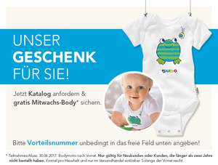 [jako-o] Gratis Baby Body (mitwachsend) bei Kataloganforderung