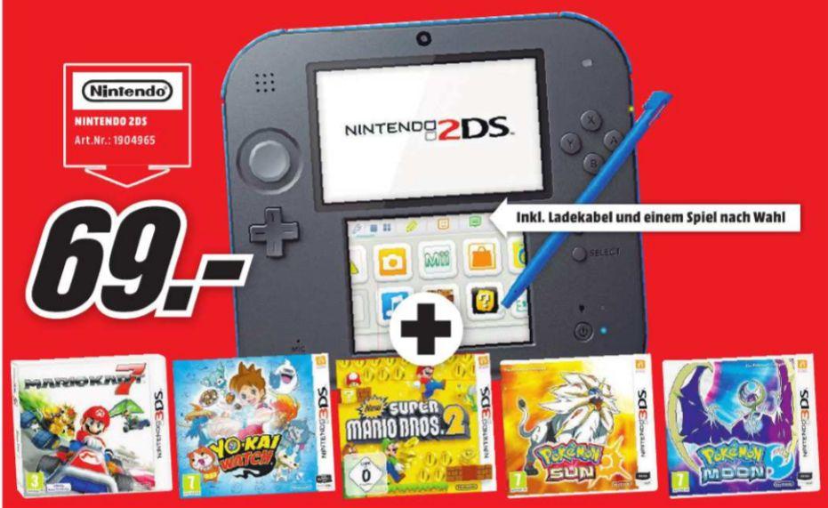 [Lokal Mediamarkt Landau] Nintendo 2DS schwarz-blau inc. 1 Spiel nach Wunsch aus einer Auswahl von 5 Spielen...Zb. Mario Kart 7 etc. für 69,-€ (Zusätzlich 4 DS Games für 58,-€)
