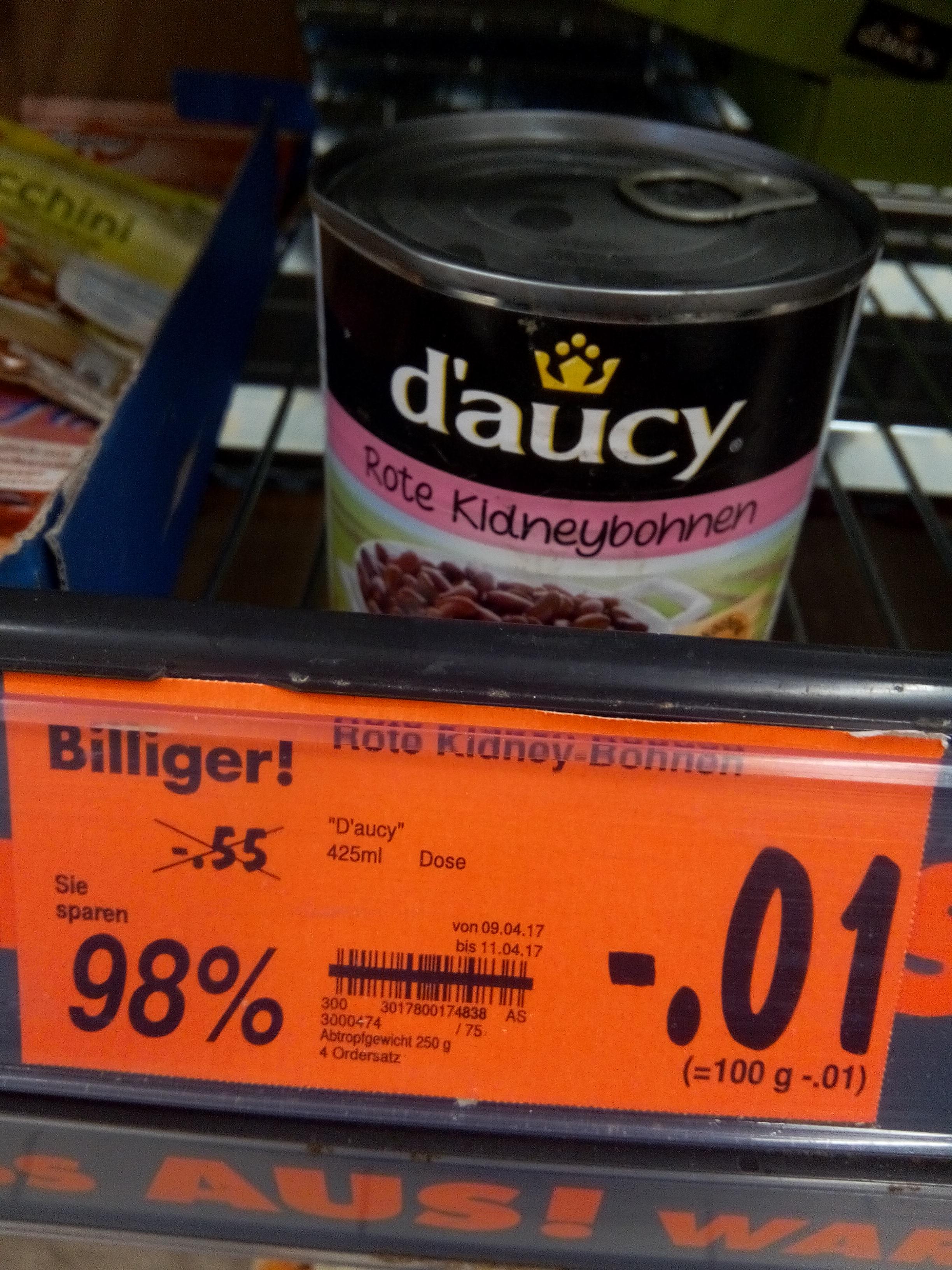 Kidneybohnen für nur 1 Cent (Lokal, Kaufland Hattingen)
