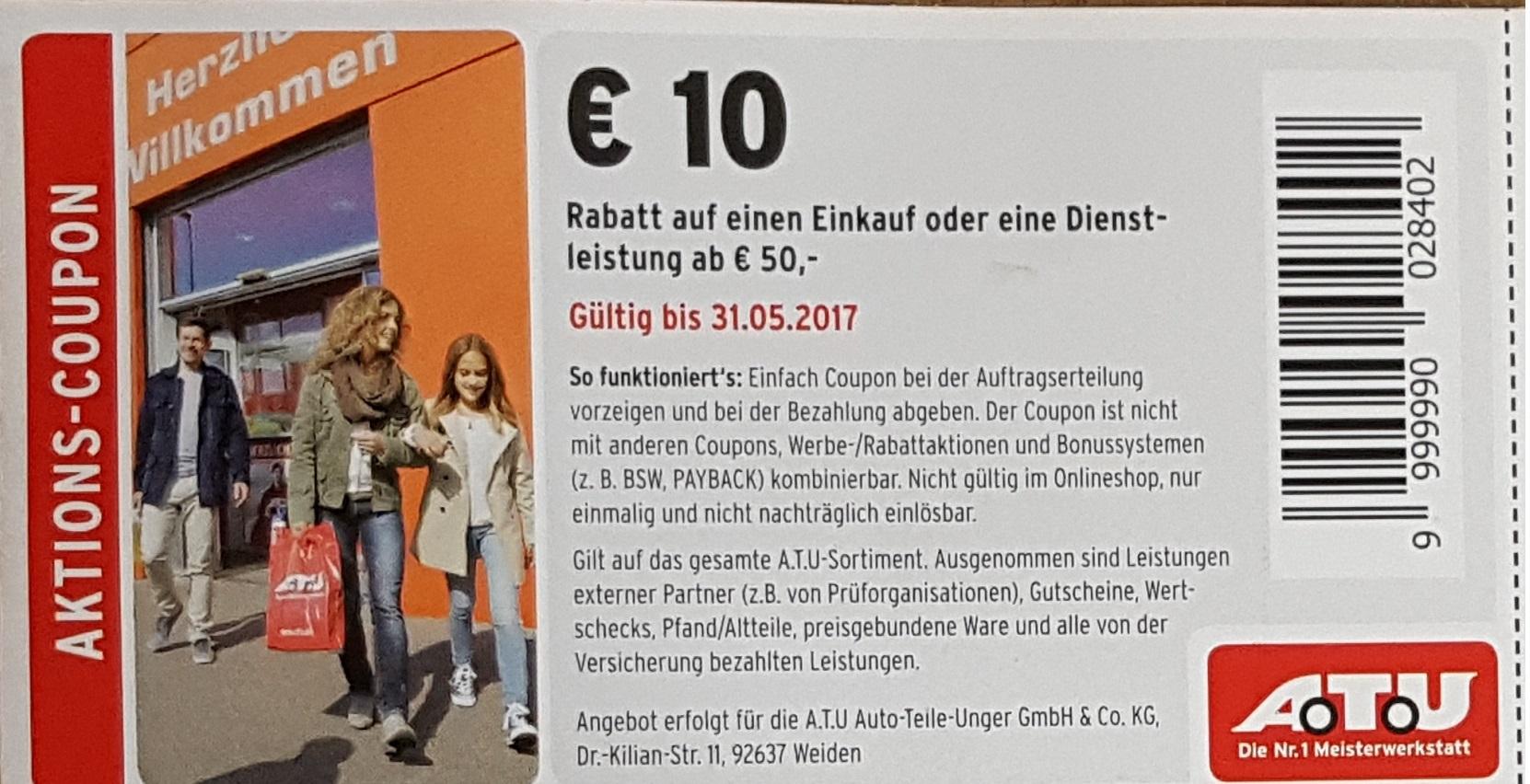 [ATU - offline] In ATU Filialen gibt es 10€ Rabatt auf einen Einkauf oder einer Dienstleistung ab 50€