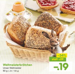 [Netto MD] Bis zu 34% Rabatt auf Backwaren z.B. Käse-Schinken-Croissant für 0,55€, Pizzatasche für 0,79€ oder Weltmeisterbrötchen für 0,19€ usw.