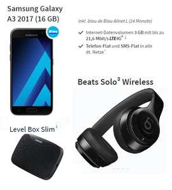 3GB LTE SMS/Telefon-Flat (O2 Netz) + Samsung Galaxy A3 2017 + Beats Solo 3 + Level Box Slim