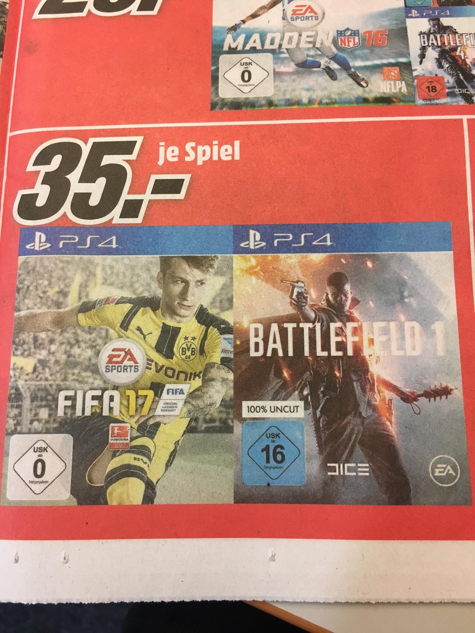 [MediaMarkt Hamburg] PS4 Games Battlefield 1 und Fifa 17 je 35€