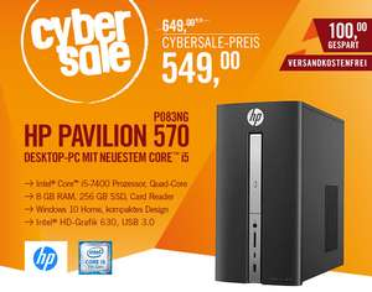 HP Pavilion 570-p083ng Desktop PC i5-7400 8GB 256GB SSD Intel HD 630 Windows 10 @cyberport 549€