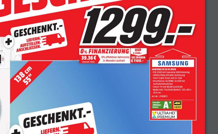 [LOKAL] Samsung UE55KS8090 für 1299 € bei MM in Dortmund Hörde