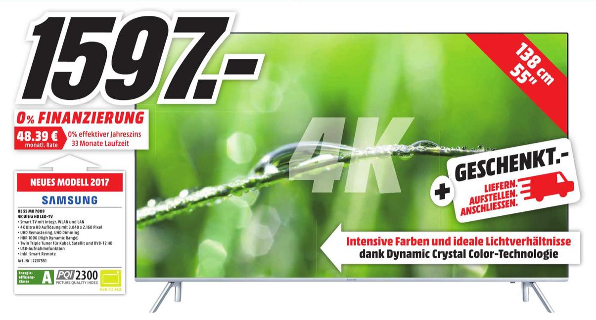 [Lokal Media Markt Raum Stuttgart] Samsung UE55MU7009 4K Ultra HD LED-TV 2017er Modell