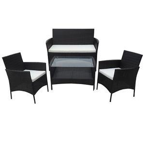 Polyrattan Garten Lounge Set (schwarz) - ebay mit Paypal Gutschein