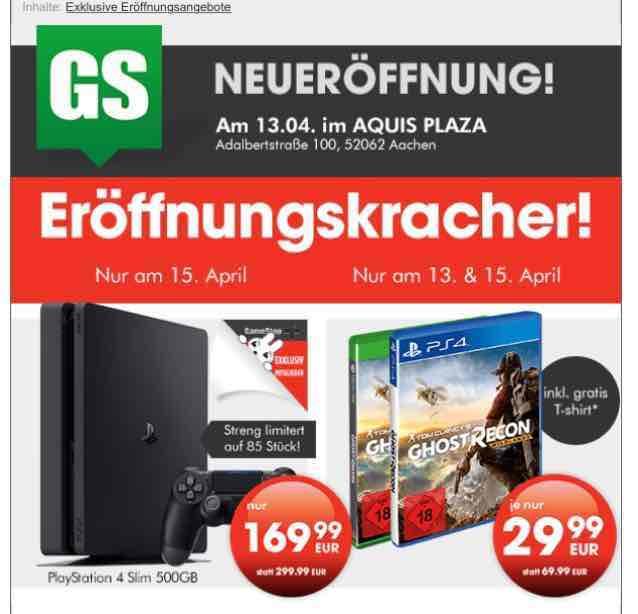 Aachen Gamestop: PS4 Slim 500 GB für 169,99 und Ghost Recon für 29,99