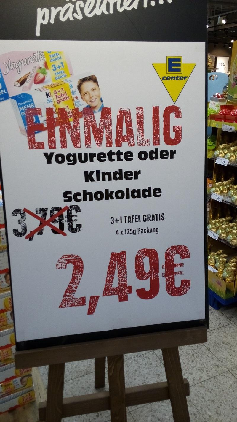 [EDEKA] Minden/Hannover 4x125g Tafel Ferrero Kinderschokolade oder Yogurette für 2,49€