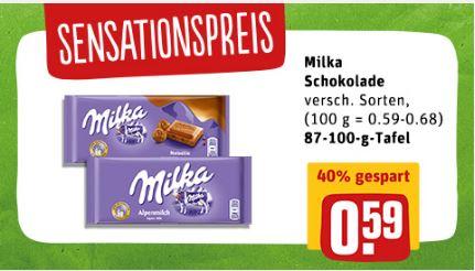 REWE Sesationspreis der Woche Milka 87-100g Tafel für 0,59€ (mit Coupon günstiger)