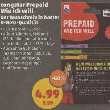 """[Penny] 50% Rabatt auf congstar Prepaid """"Wie ich will"""" inkl. 10€ Startguthaben für 4,99€"""