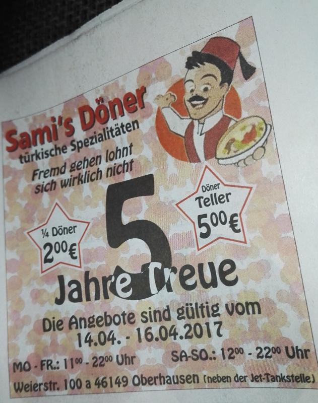 [Lokal Oberhausen] Döner für 2,- €, Dönerteller für 5,- € vom 14.04. bis 16.04.