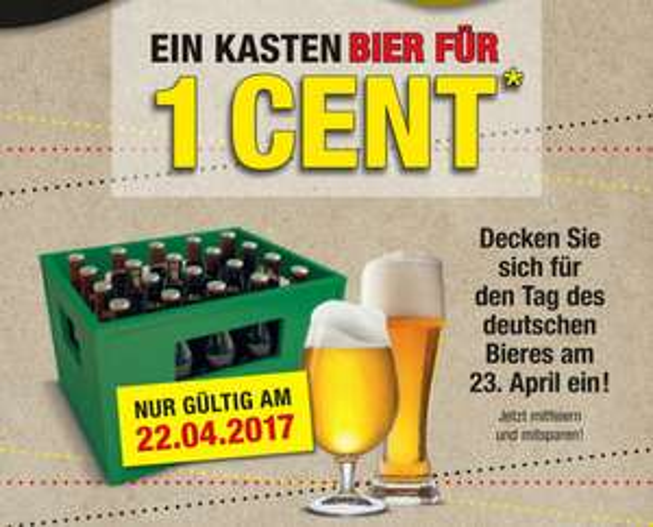 [Metro] 1 Kasten Bier für 1 Cent zzgl. Pfand ab einem Bruttoeinkaufswert von 150 € am 22.04.