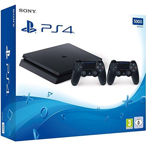 PlayStation 4 - Konsole (500GB, schwarz, slim) inkl. 2. DualShock Controller 259€