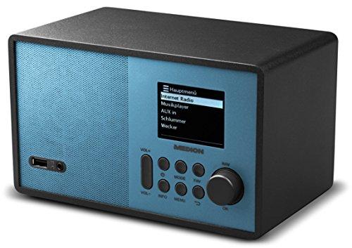 MEDION MD 87559 Internetradio mit 2,4 Zoll TFT Farb-Display, 40 Speicherplätze, Holzgehäuse, USB, blau für 59,99€ [Amazon]